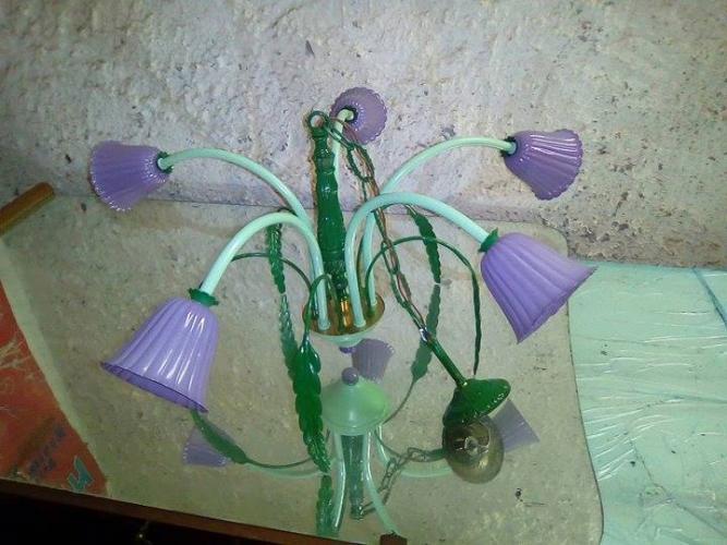 Lampadario Artigianale Colorato Con Campane Viola - 4/5